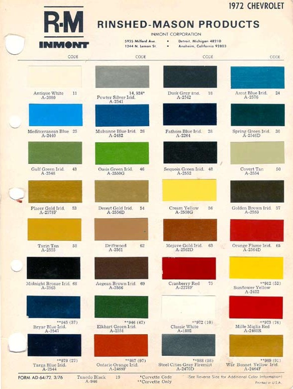 The First Generation Monte Carlo Club - 1969 camaro paint codes colors